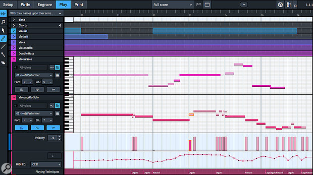 Play Mode incorporates many advanced DAW-like features for working with MIDI data independently of notation.