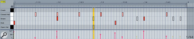 This screenshot shows the same file after weeding: the crash, several snares and open hi‑hats have all been muted; and one of the closed hi‑hat notes towards the end of the loop has been moved. The result is a much simpler groove, which loops much more naturally. Because none of the notes have actually been deleted, we can re‑enable any of them later if needed.