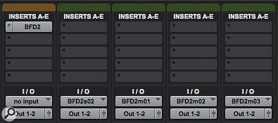 Pro Tools requires a combination of an Instrument Track and additional Auxiliary Tracks. On the left we can see the Instrument Track with BFD2 inserted as an Instrument in the Insert section. The other 4 tracks are Auxiliary Tracks. Use Command+Shift+N or Ctrl+Shift+N to create as many Auxiliary Tracks as you need, then for each one go to the I/O section in the Mixer and from the Input drop down menu select an output from the Plugin submenu.