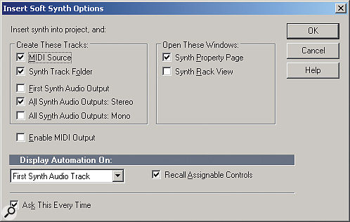 When inserting a new instrument into your project, Sonar will pop up a dialogue box called 'Insert Soft Synth Options'. If you don't see this dialogue box, open the synth rack and click the third button from the left to bring up the properties dialogue then uncheck the 'don't show me this again' check‑box. Now you will see the options whenever you insert a new instrument. There are various options for enabling multiple‑outputs including ones for mono and stereo tracks. Enable either of these and you will see the additional outputs for that plugin are created along with the main outputs in both the arrange page and the console.