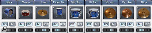 Whether you do it within the plug‑in, or use individual channels in your mixer, panning the different kit parts in a natural way is one of the keys to a good sound.