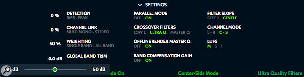 The Settings pane includes the obscure but useful Global Band Trim control, among others.