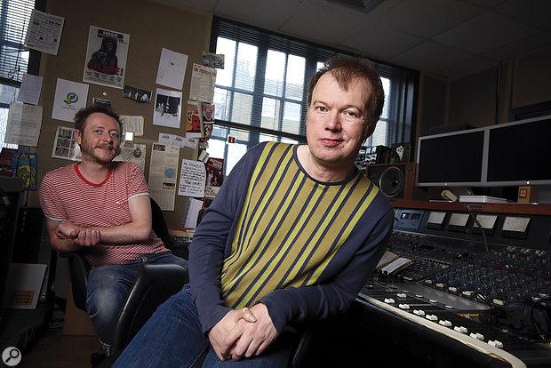 Edwyn Collins (right) and Seb Lewsley in the control room at West Heath Studios.
