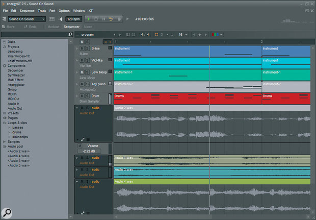 EnergyXT's Sequencer view will be familiar to users of other DAWs.