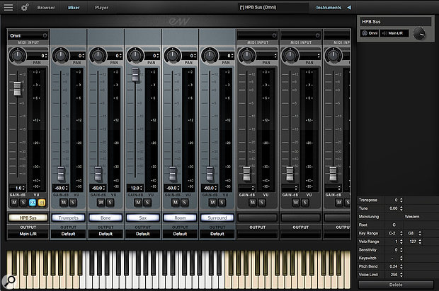 A view of EWHPB's mixer window, here showing a  legato instrument's mixing options.