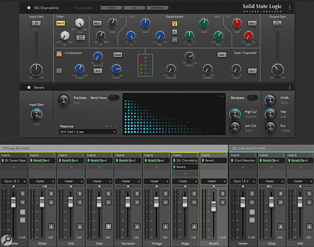 The Opus player mixer, showing the SSL channel strip and convolution reverb settings.