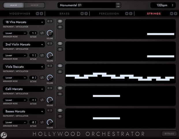 The powerful Hollywood Orchestrator creates elaborate real‑time orchestral arrangements from simple played chords. Shown here are the string section patterns which form part of an arrangement.