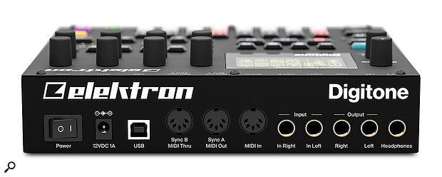 The Digitone shares the same back panel connections as the Digitakt: a 12V power socket, a USB port, MIDI In, Out and Thru ports and quarter-inch stereo inputs, outputs and headphone out.
