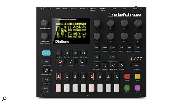 Sharing the same dimensions as the Digitakt, the Digitone's front panel measures 215 x 176 mm.