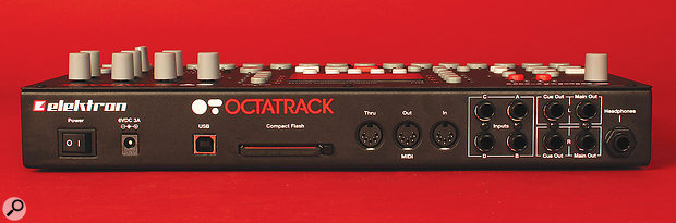 All of the Octatrack's connections are found on its rear panel. From left to right, there's a socket for the 6V external power supply, aUSB port for transferring files with acomputer, the Compact Flash card slot, MIDI In, Out and Thru ports and (all on quarter‑inch jacks) four audio inputs, apair of cue outputs, apair of main outputs and aheadphone port.