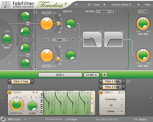 A stereo Timeless 2 delay effect showing the powerful X‑LFO being used in acreative way.