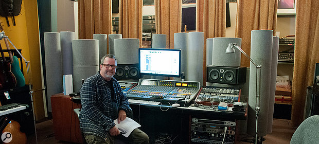 Bill Gould at Faith No More's Estudios Koolarrow, where Sol Invictus was recorded. The grey cylinders are an ASC Attack Wall that goes around his SSL Matrix console and Focal Twin monitors.