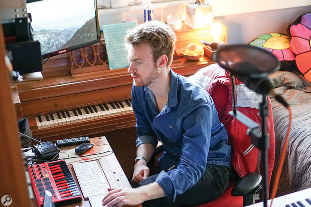 Almost the entire album was recorded in Finneas O'Connell's home studio, then (as shown in this photo) located in a  bedroom at his parents' house.