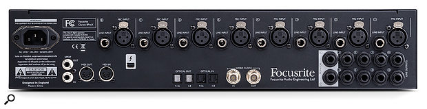 The 8PreX's rear panel is more spacious than the 8Pre's and adds additional optical ports and a word-clock input. You can connect to both the XLR and TRS inputs simultaneously and select which one you'd like to record from in 'Device Settings' in Focusrite Control.