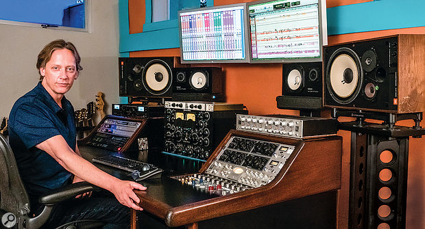 Craig Parker Adams at his studio, which is based around a Pro Tools setup and incorporates some choice outboard, including a Manley limiter, Shadow Hills summing mixer and compressor, Avalon and BAE EQs, and a pair of Universal Audio LA-610 channel strips.