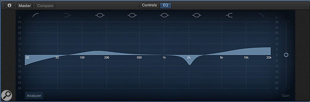 The default audio track comes pre-loaded with a compressor and an EQ. You can adjust both from the Controls view, or you can click on the EQ tab for more comprehensive equalisation controls.
