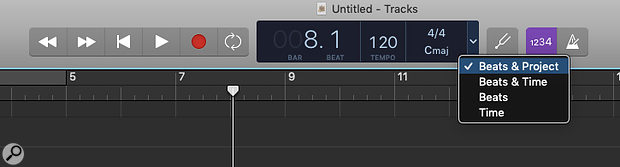 Counting time in beats and bars is useful for music, but less so when podcasting. You can change the counter to show minutes and seconds in the transport section at the top.