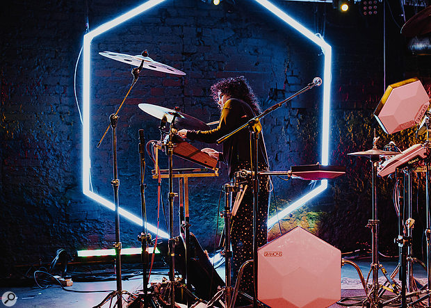 Georgia Barnes' live show has evolved from a full band, via a duo, to its current solo incarnation. At its heart is a Simmons electronic drum kit.