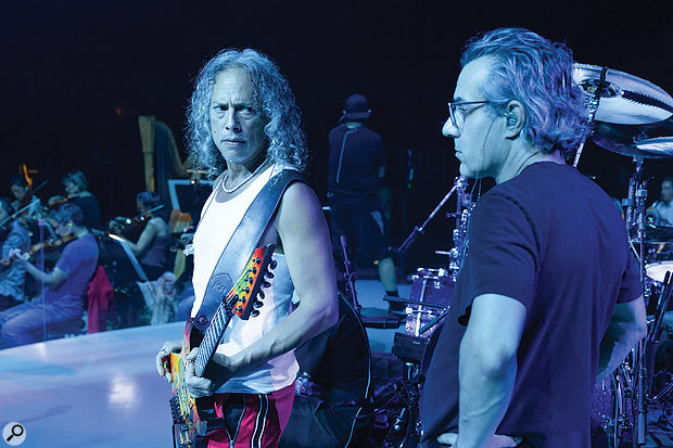 Guitarist Kirk Hammett (left) and Greg Fidelman at the Cow Palace rehearsals. In-ear monitoring was used throughout, with the intention of keeping on-stage noise to a minimum.