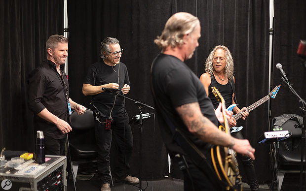 Edwin Outwater, Greg Fidelman and Metallica in the tuning room.