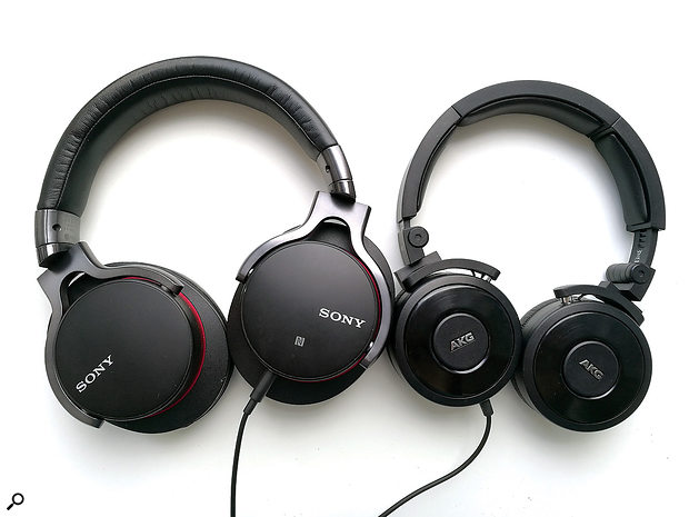 Most studio headphones are either over-ear (left) or on-ear (right) designs.