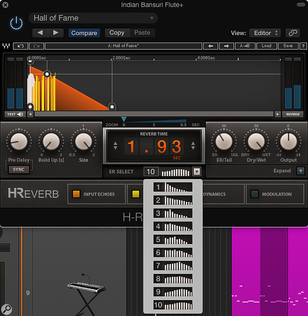 Among the many sound-shaping options in H-Reverb is the ability to choose from 10 different patterns of early reflections.