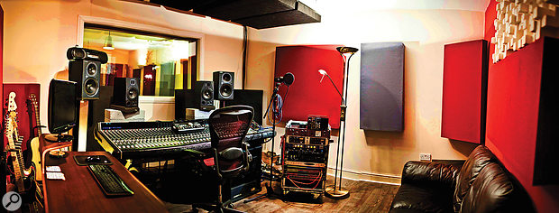 The control room at Half-Ton Studios, after moving into the larger space but prior to upgrading the desk and monitors. There was some basic treatment in place, but more would be needed to address the low-end response.