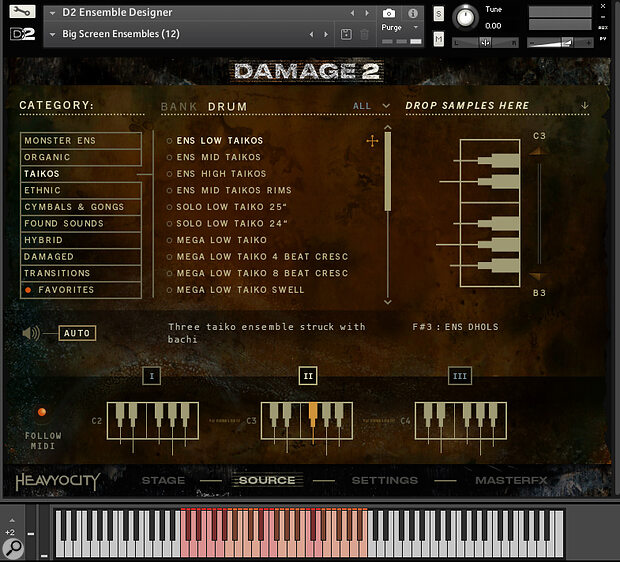 Damage 2's individual sounds are listed on the 'source' page. You can drag and drop them into one of the three designated one‑octave keyboard zones, or load pre‑made banks of 12 sources into a zone of your choice.