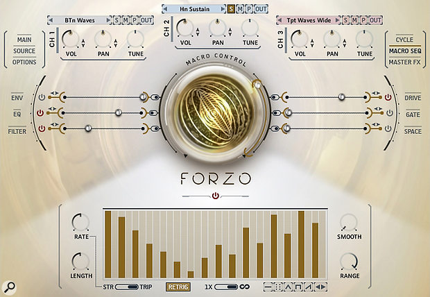 The Brass Designer Macro Sequencer. Channel 2 (Horns Sustain) is soloed: its EQ, Filter and Drive are being non-linearly modulated by the Macro Sequencer. The EQ is being modulated inversely to the Filter and Drive.