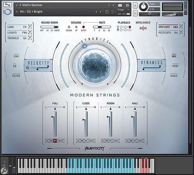 Novo is a string library with two distinct personalities. Here it's in its conventional guise, as a familiar multisampled violin section. The sophisticated round-robin and bow-direction features at the top of the interface add significantly to the sense of realism.