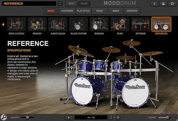 MODO Drum opens on the Model selection screen. Ten kits are available, each loading with a  predetermined configuration and a  'serving suggestion' mix already set up as a  starting point.