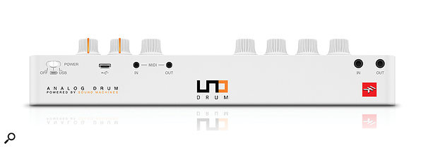 The UNO Drum's rear panel hosts mini-jack connections for MIDI I/O and audio I/O.