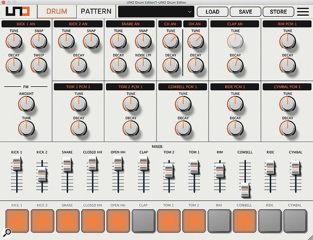 The UNO editor gives you remote control of UNO Drum from a plug-in, as well as back-up and pattern editing.
