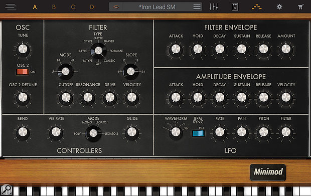 While each of the 17 instrument categories offer a different visual look — in this example, a Moog-inspired styling — the underlying control set remains the same.