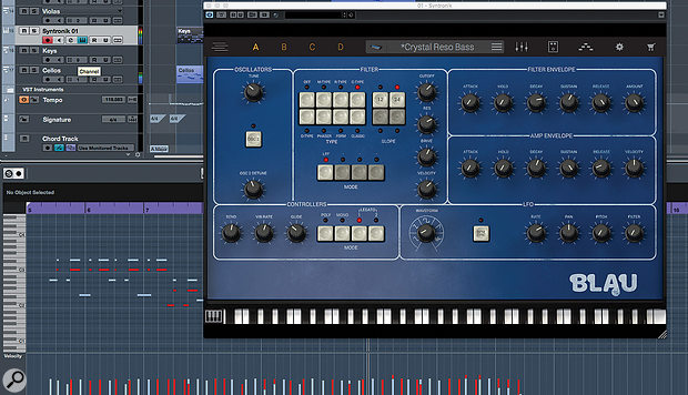 Syntronik runs both stand-alone and, as shown here within Cubase, in all the common plug-in formats.