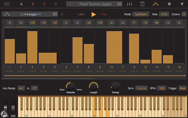 The arpeggiator is very well featured and, as with the effects section, is available on a per-Part basis.