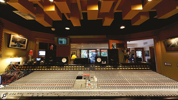 Bob Clearmountain still mixes through his SSL 4000 series console, and makes extensive use of its antiquated yet powerful automation computer (the green/black screen, top left).