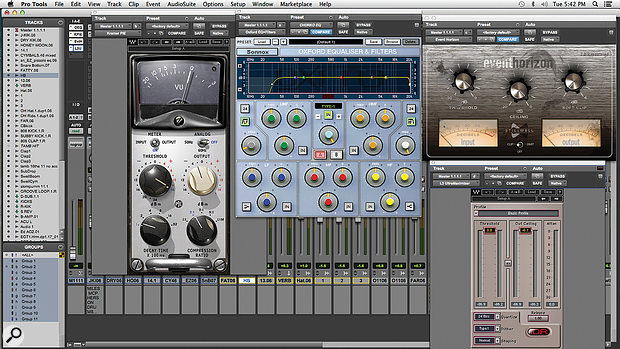 Another constant in Billy Decker's mixes is his master bus plug-in chain. Each compressor and limiter is typically only applying about 1dB gain reduction.