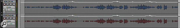 A simple but effective way of making the vocal louder is to duplicate the vocal track! Note the use of automation to raise the vocal level at the end of each chorus.