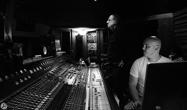 Bob Ezrin (standing) with Justin Cortelyou. This photo was taken at The Village Recorder in Santa Monica, during a tracking session with the Hollywood Vampires.