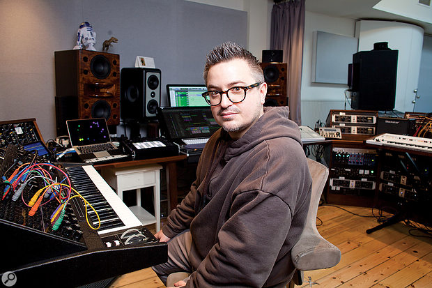 Rik Simpson in the control room at Coldplay's The Beehive studio.