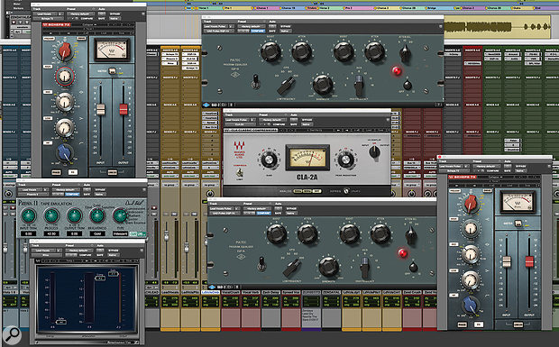 The Pro Tools session is much too big to be usefully reproduced in these pages, and most of its 333 tracks are devoid of plug-ins. Major exceptions include the lead vocals by Zac Efron and Zendaya, and this screenshot shows some of the plug-ins Greg Wells used to try to generate a 'pop' vocal sound from a 'soundtrack' recording.