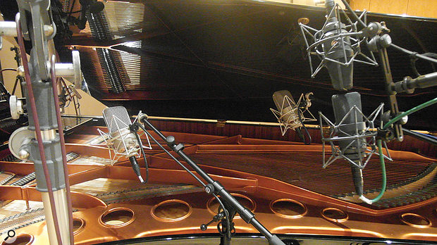 Jason Elliott's recall photos show the complex miking on the Bösendorfer grand at British Grove. The four mic pairs are Beyer M88 dynamics (closest to keyboard), Neumann M49s (above strings), Neumann TLM170s and (furthest away) Royer R122V valve ribbon mics.