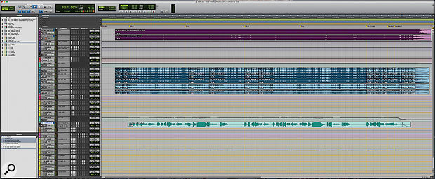The complete Pro Tools Edit window from the 'River' mix session, with piano tracks in blue (centre) and Ellie Goulding's vocal below them in green.
