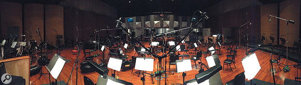 A panoramic view of the Eastwood Scoring Stage showing the setup David Boucher used to record the orchestra for 'Let It Go'.