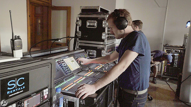 During the shoot, Guillaume de la Villéon was positioned at the console, providing live monitor mixes to the musicians and crew.
