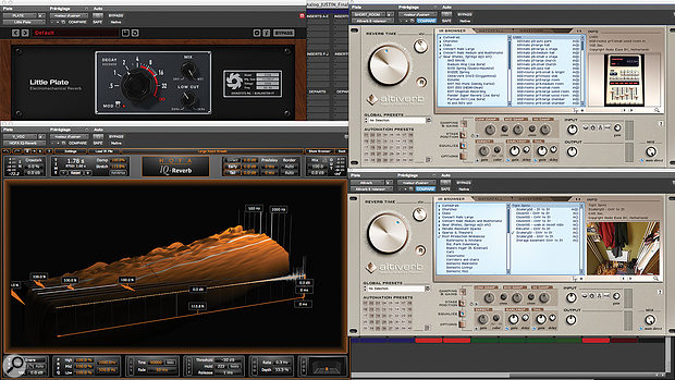Several different reverb plug-ins were employed to augment the ambient recordings, which were sometimes problematic.