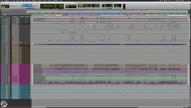 The entire Live Aid set was mixed from a single Pro Tools session. At the top are the original audio files transferred from the tape multitrack; the lower half of the session contains stems re-recorded into Pro Tools. [See righthand sidebar for downloadable ZIP file of a hi-res screenshot.]