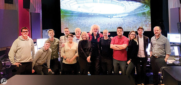 The work of Macrae, Shirley-Smih and Fredriksson was only part of a huge team effort on the audio front. Most of that team are shown in this group photo taken at Twickenham Studios: from left, William Miller, Tom Melling, Kris Fredriksson, Joshua J Macrae, Nina Hartstone, Paul Massey, Miranda Jones, Brian May, John Warhurst, Tim Cavagin, Louise Burton, Alistair Hawkins and Justin Shirley-Smith.