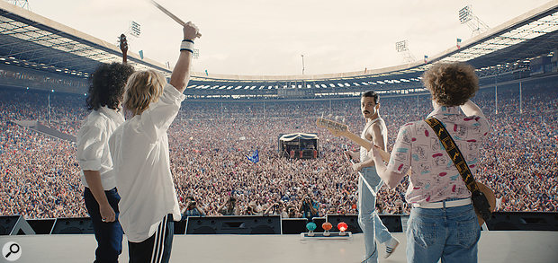 Left-right: Gwilym Lee (Brian May), Ben Hardy (Roger Taylor), Rami Malek (Freddie Mercury) and Joe Mazzello (John Deacon) recreate Queen's legendary Live Aid concert in Bohemian Rhapsody.